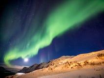 Aurora Borealis i Tromso, Norge framme av den norska fjorden på vintern Royaltyfri Bild