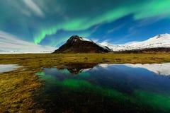 Aurora Borealis in IJsland nightscape royalty-vrije stock afbeelding