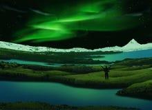 Aurora borealis, Islândia Fotografia de Stock Royalty Free