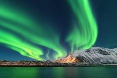 Aurora Borealis Islas de Lofoten, Noruega aurora Luces norteñas verdes imagen de archivo libre de regalías
