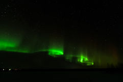 Aurora borealis in kattisberg, Zweden Royalty-vrije Stock Foto's