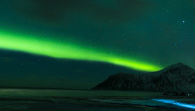 Aurora Borealis Known as Nother Lights Playing with Vivid Colors. Over Lofoten Islands in Norway. Horizontal Image Orientation Stock Images