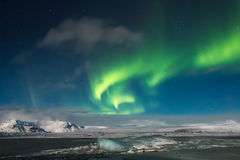 Aurora Borealis, lagune glaciaire de Jokulsarlon Image libre de droits
