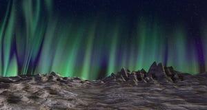 Aurora borealis landscape Stock Photos