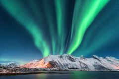 Aurora borealis. Lofoten islands, Norway. Aurora Royalty Free Stock Photography