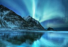 Aurora borealis on the Lofoten islands, Norway. Green northern lights above mountains. Night sky with polar lights. Night winter landscape with aurora and stock photo