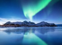 Aurora borealis on the Lofoten islands, Norway. Green northern lights above mountains. Night sky with polar lights. Night winter landscape with aurora and royalty free stock image
