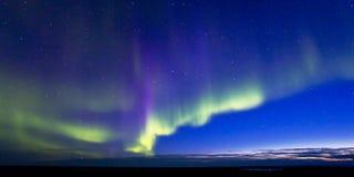 Aurora Borealis med skymning Royaltyfria Bilder