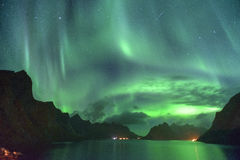 Aurora Borealis and a meteor (northern lights) from Lofoten, Norway. Aurora Borealis with a meteor (northern lights)  from Lofoten, Norway Royalty Free Stock Image