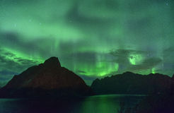 Aurora Borealis and a meteor (northern lights) from Lofoten, Norway Royalty Free Stock Photos