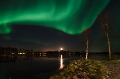 Aurora borealis and moonrise Royalty Free Stock Photography