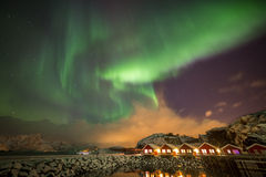 Aurora borealis in Mortsund, Lofoten, Norway royalty free stock photo