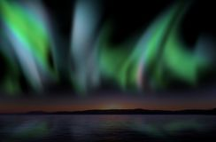 Aurora borealis, nice and powerful. Twilight sky with  Aurora Borealis reflecting in the water, illustration Royalty Free Stock Image