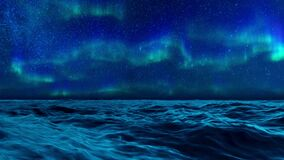 Aurora Borealis in night sky over ocean surface 4K