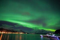 Aurora borealis, Noorwegen, Tromso royalty-vrije stock fotografie
