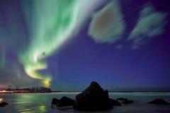 Aurora Borealis Northern-lichten De Eilanden van Lofoten, Noorwegen stock foto