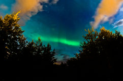 Aurora borealis, northern light on a sky over Akureyri Royalty Free Stock Photography