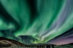 Aurora, borealis, northern, lights, constellation, big, dipper, north, norway, tourist, attraction, Tromso. Aurora Borealis northern lights with Big Dipper royalty free stock images