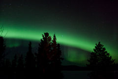 Aurora Borealis (Northern Lights) display. Aurora Borealis display and lots of stars in clear night sky, image taken at the shore of Lake Laberge, Yukon Stock Images