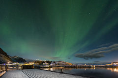 Aurora borealis, the Northern Lights, Lofoten Islands Stock Photography