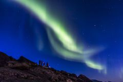 Aurora borealis or northern lights at Lofoten, Norway Stock Photos