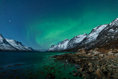 Aurora Borealis (Northern lights) reflecting Stock Photography