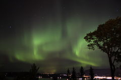 Aurora borealis. Northlight seen over night sky in Norway stock photography