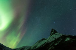 Aurora Borealis och berglandskap Royaltyfri Foto