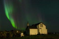 Aurora Borealis with old house Royalty Free Stock Photos