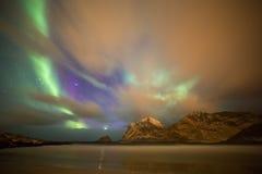 Aurora Borealis On Beach, Lofoten, Norway Stock Photos