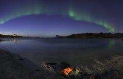Aurora Borealis op strand Stock Foto's