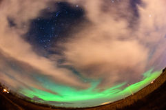 Aurora Borealis Over Farm Field Royaltyfri Fotografi