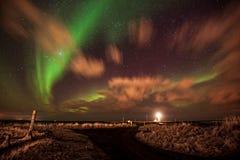 Aurora Borealis over Gróttuviti. Northern Lights over the Lighthouse of Grotta, Reykjavik, Iceland Stock Photos
