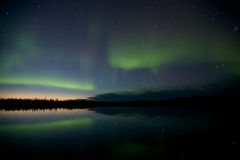 Aurora Borealis Over a Lake Stock Image