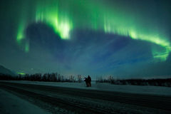 Aurora borealis over scandinavia Stock Image