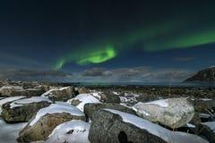 Aurora borealis over Skagsanden beach on Lofoten Islands, Royalty Free Stock Photo