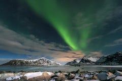 Aurora borealis over Skagsanden beach on Lofoten Islands, Royalty Free Stock Photography