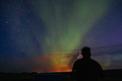 Aurora Borealis over southern Iceland. Northern Lights in Iceland. Aurora Stock Image