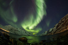 Aurora borealis over Tromso fisheye lens Royalty Free Stock Photo