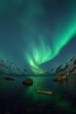 Aurora borealis over Tromso fisheye lens Royalty Free Stock Photos