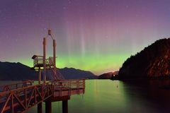 Aurora Borealis at Porteau Cove Provincial Park Stock Photos