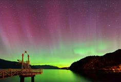 Aurora borealis at Porteau Cove Provincial Park Stock Photography