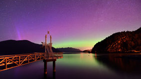 Aurora borealis at Porteau Cove Provincial Park Stock Photo