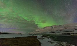 Aurora borealis in remote area of Iceland. Royalty Free Stock Images