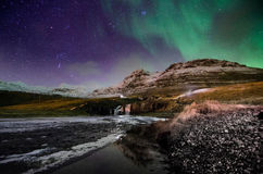 Aurora borealis at scandinavia , mt. kirkjufell, iceland Royalty Free Stock Image