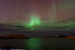 Aurora Borealis with Shooting Star Royalty Free Stock Images