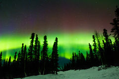 Aurora Borealis. Sky Filled With Greenish And Maroon Colors Of The Northern Lights Royalty Free Stock Images
