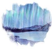 Aurora Borealis sobre las manchas de la acuarela del bosque stock de ilustración