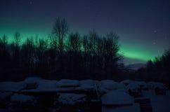 Aurora borealis sobre pilas de la leña y árboles de abedul Imagen de archivo