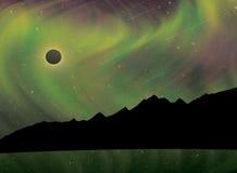 Aurora Borealis During Solar Eclipse y lluvia de meteoritos Foto de archivo libre de regalías